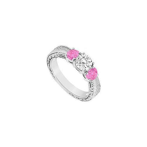Sterling Silver Created Pink Sapphire and Cubic Zirconia Three Stone Ring 0.50 CT TGW-JewelryKorner-com