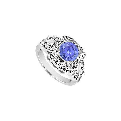 Sterling Silver Created Tanzanite and Cubic Zirconia Engagement Ring 1.50 CT TGW-JewelryKorner-com