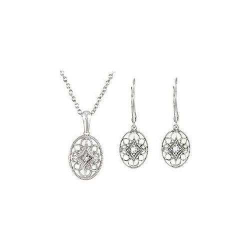 Sterling Silver Diamond Necklace and Lever Back Earrings Sets - 0.09 CT TW-JewelryKorner-com