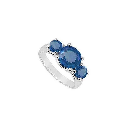 Sterling Silver Diffuse Blue Sapphire Three Stone Ring 0.50 CT TGW-JewelryKorner-com
