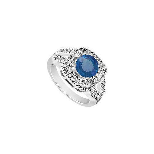 Sterling Silver Diffuse Sapphire and Cubic Zirconia Engagement Ring 1.50 CT TGW-JewelryKorner-com