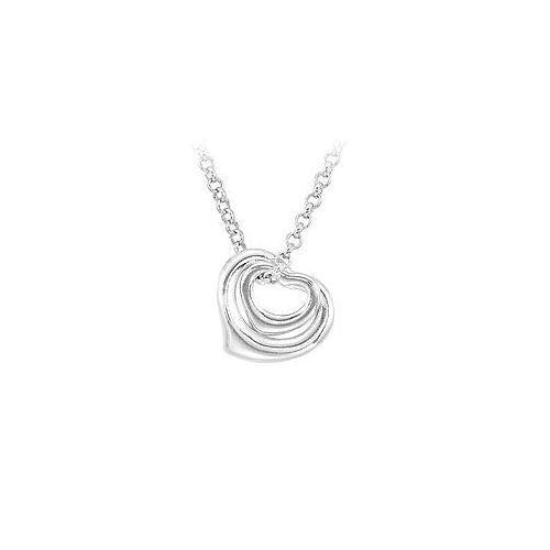 Sterling Silver Double Floating Heart Necklace-JewelryKorner-com