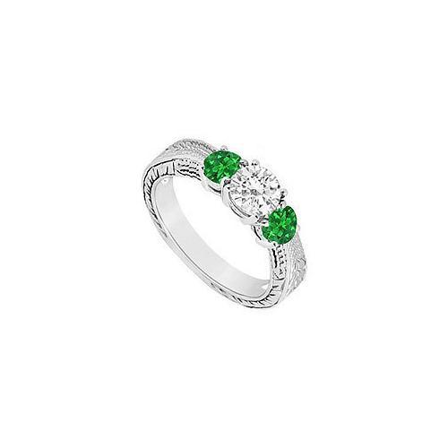 Sterling Silver Frosted Emerald and Cubic Zirconia Three Stone Ring 0.50 CT TGW-JewelryKorner-com