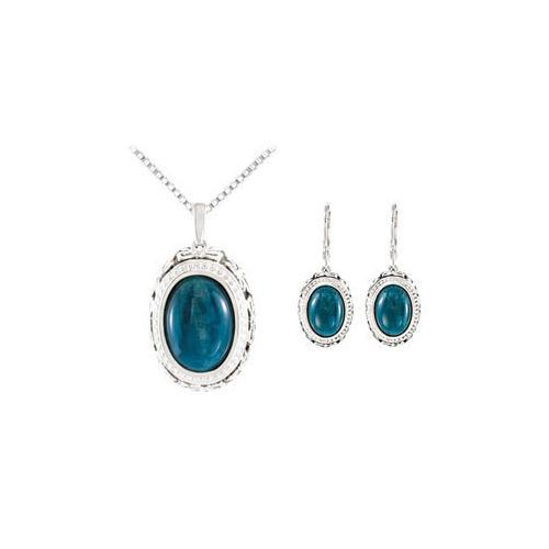 Sterling Silver Genuine Opaque Apatite Earrings and Pendant Set - Pair 13.00 X 09.00 MM and 15.0-JewelryKorner-com