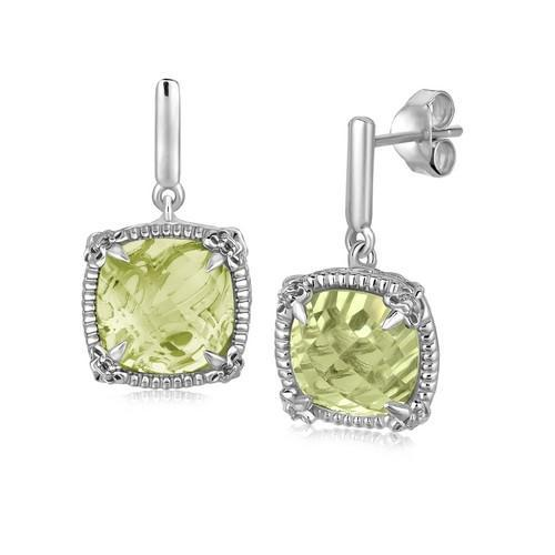 Sterling Silver Green Amethyst and White Sapphires Fleur De Lis Drop Earrings-JewelryKorner-com