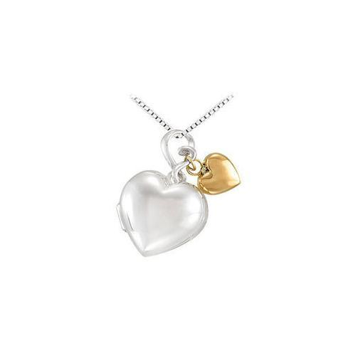 Sterling Silver Heart Locket with 14K Yellow Heart Dangle Pendant - 24.00 X 18.00 MM-JewelryKorner-com
