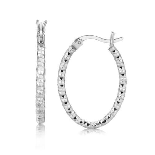Sterling Silver Hoop Diamond Cut Texture Earrings with Rhodium Plating-JewelryKorner-com