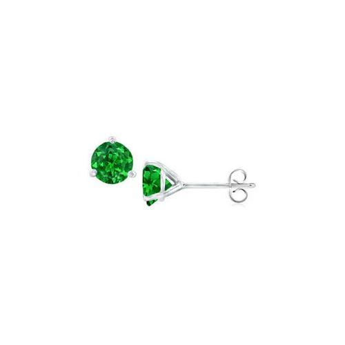 Sterling Silver Martini Style Created Emerald Stud Earrings with 0.50 CT TGW-JewelryKorner-com