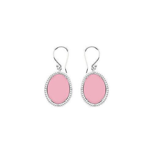 Sterling Silver Pink Chalcedony and Cubic Zirconia Earrings 30.16 CT TGW-JewelryKorner-com