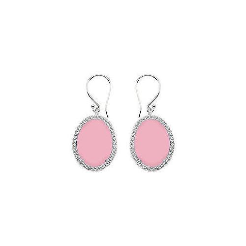 Sterling Silver Pink Chalcedony and Cubic Zirconia Earrings 31.00 CT TGW-JewelryKorner-com