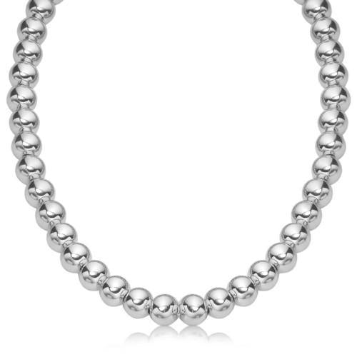 Sterling Silver Polished Bead Necklace with Rhodium Plating (10mm), size 18''-JewelryKorner-com