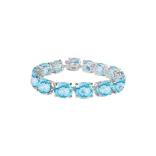 Sterling Silver Prong Set Oval Aquamarine Bracelet with 50.00 CT TGW-JewelryKorner-com