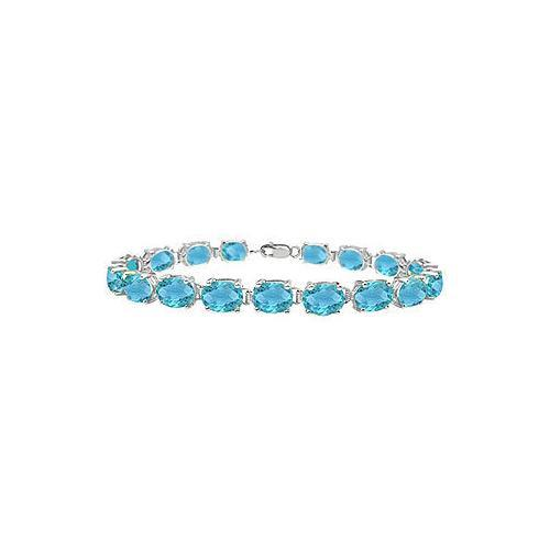 Sterling Silver Prong Set Oval Blue Topaz Bracelet with 15.00 CT TGW-JewelryKorner-com