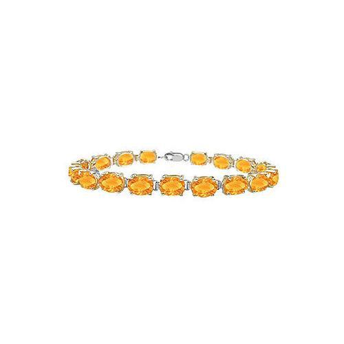 Sterling Silver Prong Set Oval Citrine Bracelet with 15.00 CT TGW-JewelryKorner-com