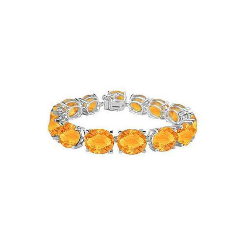 Sterling Silver Prong Set Oval Citrine Bracelet with 50.00 CT TGW-JewelryKorner-com