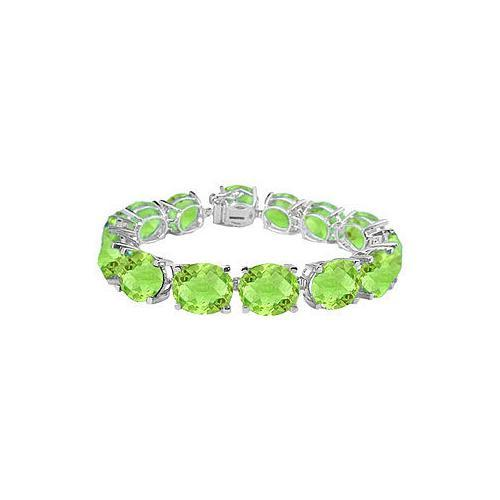 Sterling Silver Prong Set Oval Peridot Bracelet with 50.00 CT TGW-JewelryKorner-com