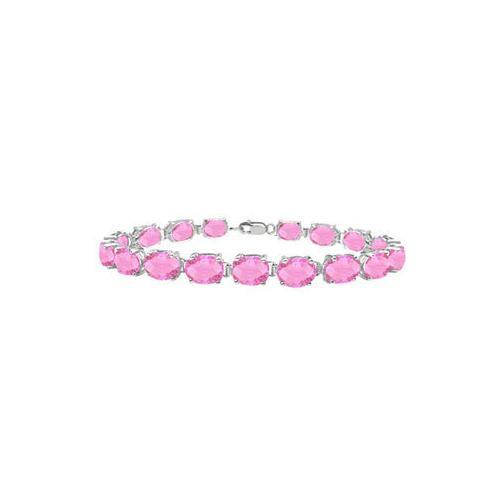 Sterling Silver Prong Set Oval Pink Topaz Bracelet with 15.00 CT TGW-JewelryKorner-com