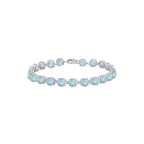 Sterling Silver Prong Set Round Aquamarine Bracelet with 12.00 CT TGW-JewelryKorner-com