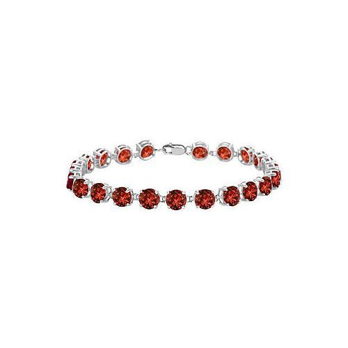 Sterling Silver Prong Set Round Garnet Bracelet with 12.00 CT TGW-JewelryKorner-com