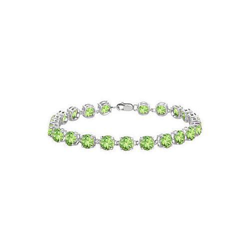 Sterling Silver Prong Set Round Peridot Bracelet with 12.00 CT TGW-JewelryKorner-com