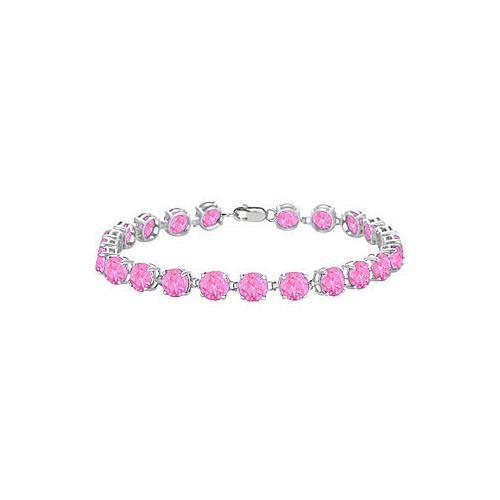 Sterling Silver Prong Set Round Pink Topaz Bracelet with 12.00 CT TGW-JewelryKorner-com