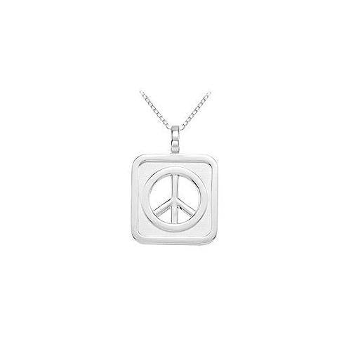 Sterling Silver Rectangle Shaped Peace Sign Pendant-JewelryKorner-com