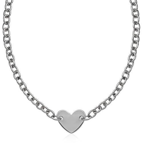 Sterling Silver Rhodium Plated Chain Bracelet with a Flat Heart Motif Station, size 18''-JewelryKorner-com