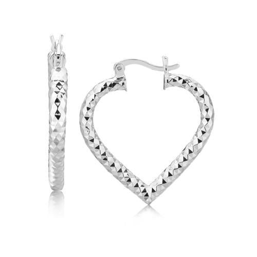 Sterling Silver Rhodium Plated Heart Style Hoop Diamond Cut Earrings-JewelryKorner-com