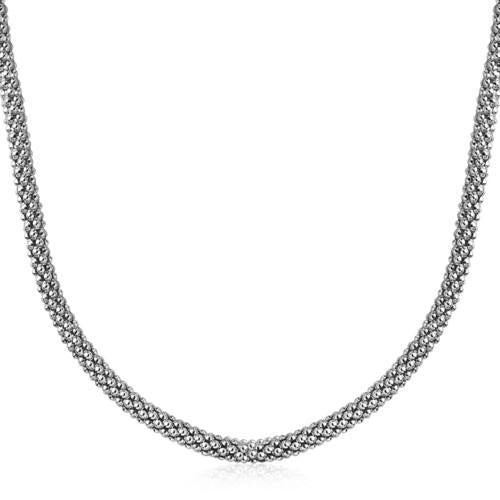 Sterling Silver Rhodium Plated Popcorn Style Necklace, size 18''-JewelryKorner-com