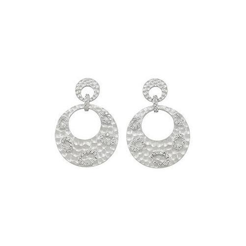 Sterling Silver Rhodium Plated with Cubic Zirconia Earrings-JewelryKorner-com
