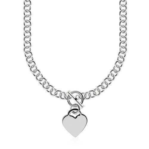 Sterling Silver Rolo Chain with a Heart Toggle Charm and Rhodium Plating, size 18''-JewelryKorner-com