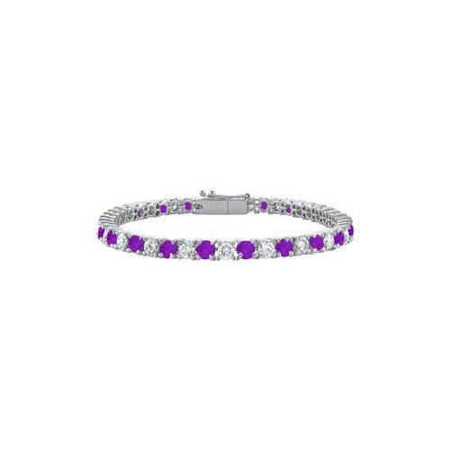 Sterling Silver Round Amethyst and Cubic Zirconia Tennis Bracelet 5.00 CT TGW-JewelryKorner-com
