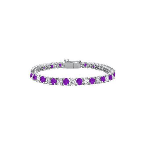 Sterling Silver Round Amethyst and Cubic Zirconia Tennis Bracelet 7.00 CT TGW-JewelryKorner-com