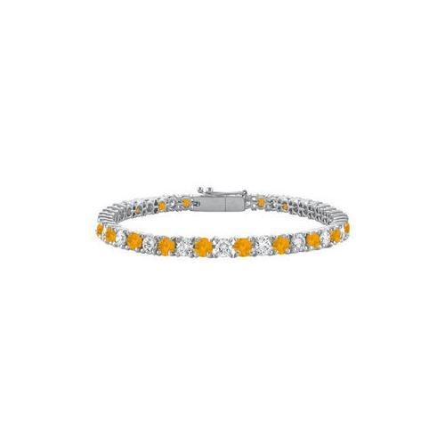 Sterling Silver Round Citrine and Cubic Zirconia Tennis Bracelet 4.00 CT TGW-JewelryKorner-com