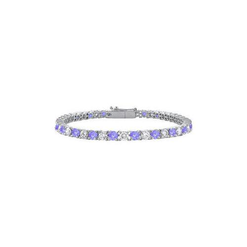 Sterling Silver Round Created Tanzanite and Cubic Zirconia Tennis Bracelet 2.00 CT TGW-JewelryKorner-com