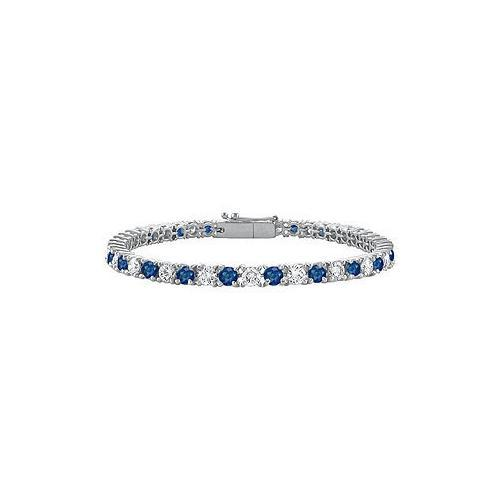Sterling Silver Round Diffuse Sapphire and Cubic Zirconia Tennis Bracelet 4.00 CT TGW-JewelryKorner-com