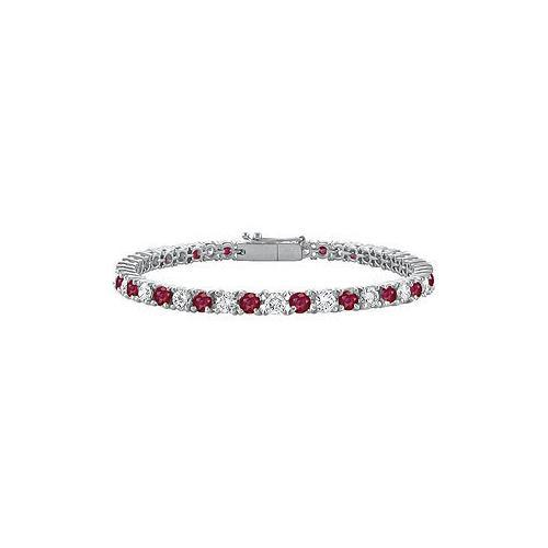Sterling Silver Round GF Bangkok Ruby and Cubic Zirconia Tennis Bracelet 4.00 CT TGW-JewelryKorner-com