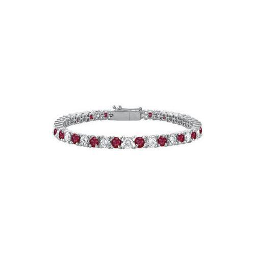 Sterling Silver Round GF Bangkok Ruby and Cubic Zirconia Tennis Bracelet 7.00 CT TGW-JewelryKorner-com