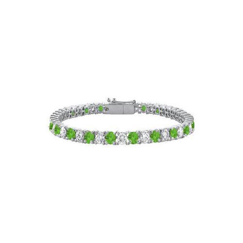 Sterling Silver Round Peridot and Cubic Zirconia Tennis Bracelet 10.00 CT TGW-JewelryKorner-com