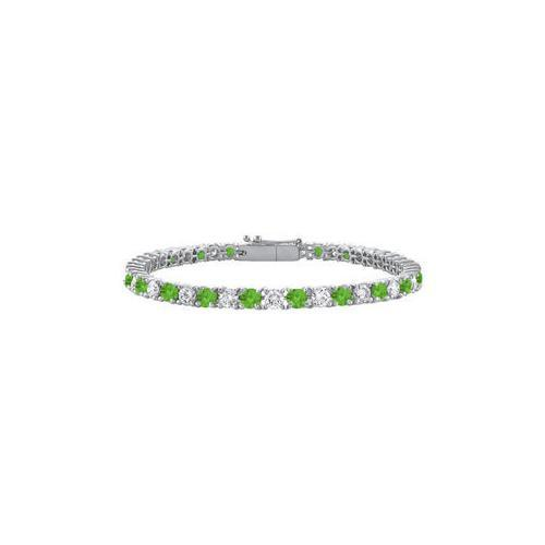 Sterling Silver Round Peridot and Cubic Zirconia Tennis Bracelet 2.00 CT TGW-JewelryKorner-com