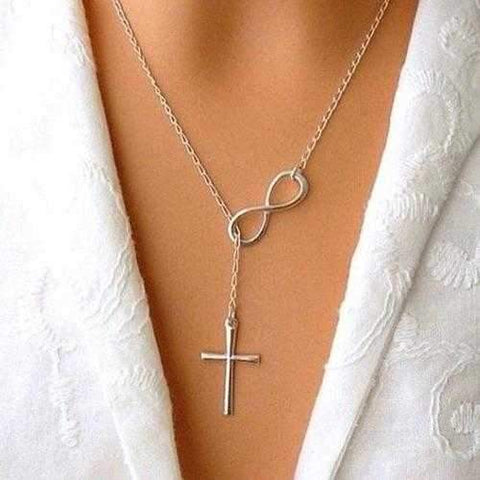 Symbol Of Infinity And Holy Cross With Lariat Style Chain-JewelryKorner-com
