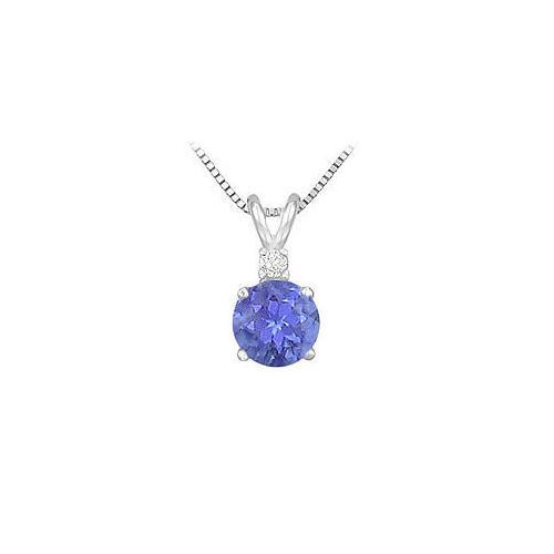 Synthetic Tanzanite Solitaire Pendant : .925 Sterling Silver - 1.00 CT TGW-JewelryKorner-com