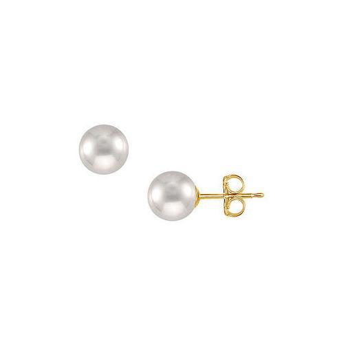 Tahitian Pearl Stud Earrings : 18K Yellow Gold 10 MM-JewelryKorner-com