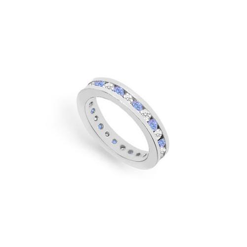 Tanzanite and Diamond Channel-Set Eternity Band : 14K White Gold - 1.00 CT TGW-JewelryKorner-com