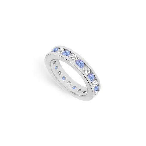 Tanzanite and Diamond Channel-Set Eternity Band : 14K White Gold - 2.00 CT TGW-JewelryKorner-com