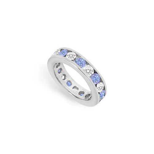 Tanzanite and Diamond Channel-Set Eternity Band : 14K White Gold - 3.00 CT TGW-JewelryKorner-com