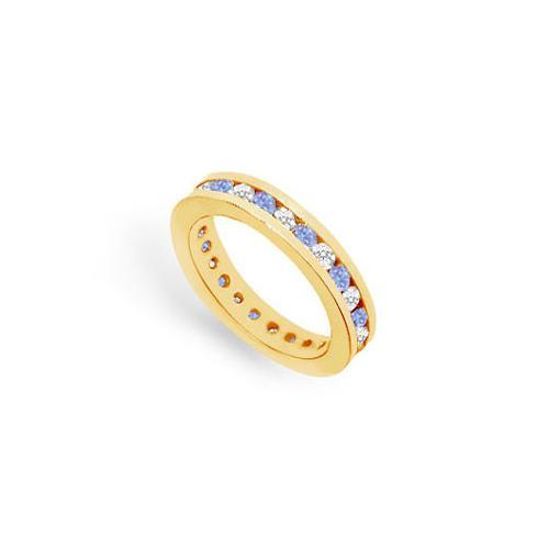 Tanzanite and Diamond Channel-Set Eternity Band : 14K Yellow Gold - 1.00 CT TGW-JewelryKorner-com