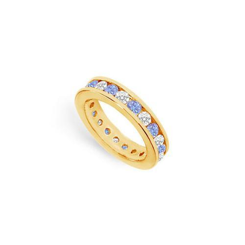 Tanzanite and Diamond Channel-Set Eternity Band : 14K Yellow Gold - 2.00 CT TGW-JewelryKorner-com