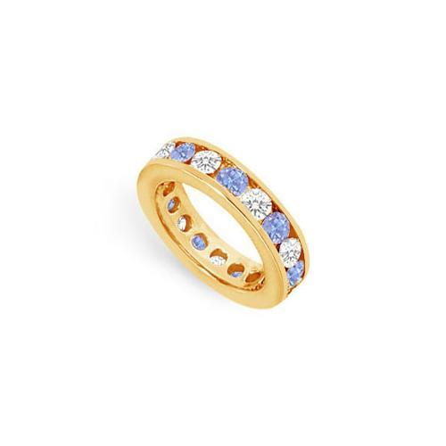 Tanzanite and Diamond Channel-Set Eternity Band : 14K Yellow Gold - 3.00 CT TGW-JewelryKorner-com