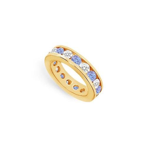 Tanzanite and Diamond Channel-Set Eternity Band : 14K Yellow Gold - 4.00 CT TGW-JewelryKorner-com